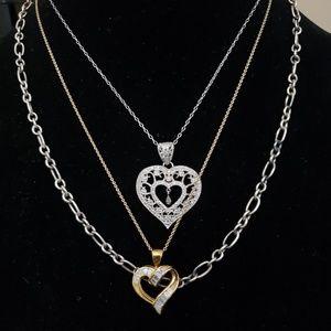3pcs 925 Sterling Silver Necklace Lot One Diamond